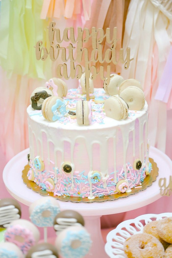 Donut themed cake from a Pastel Donut Birthday Party on Kara's Party Ideas | KarasPartyIdeas.com (26)