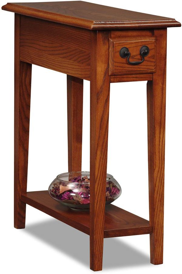Leick Solid Wood Side End Table With Storage Drawer And Shelf