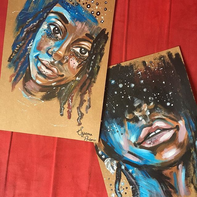 I usually overwork my paintings until they are smooth. It was quite a challenge for me to just block all the colours in and leave it  but I enjoyed it  •••  It's always easier to paint someone you know... I spend most of my time with this girl.  •••  #experiment #myart #painting #acrylics #selfportrait #stars #art #instaart