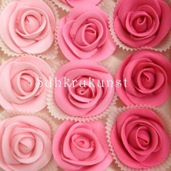 PINK SUGAR ROSES, SET OF 15