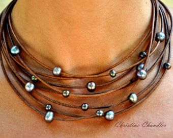 Pearl and Leather Jewelry Natural Reef Knot by ChristineChandler