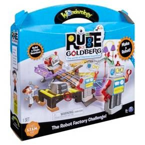 Can you build a real working robot factory? Stretch your inventing skills in a hysterical new way with the latest Rube Goldberg playset! Made by Wonderology, this set is inspired by the famous American cartoonist and inventor, best known for his hilarious and complex contraptions devised to perform simple tasks – only now, the task is not so simple! See if you can assemble the pieces provided to create a factory capable of making an entire robot! You'll learn how levers an...