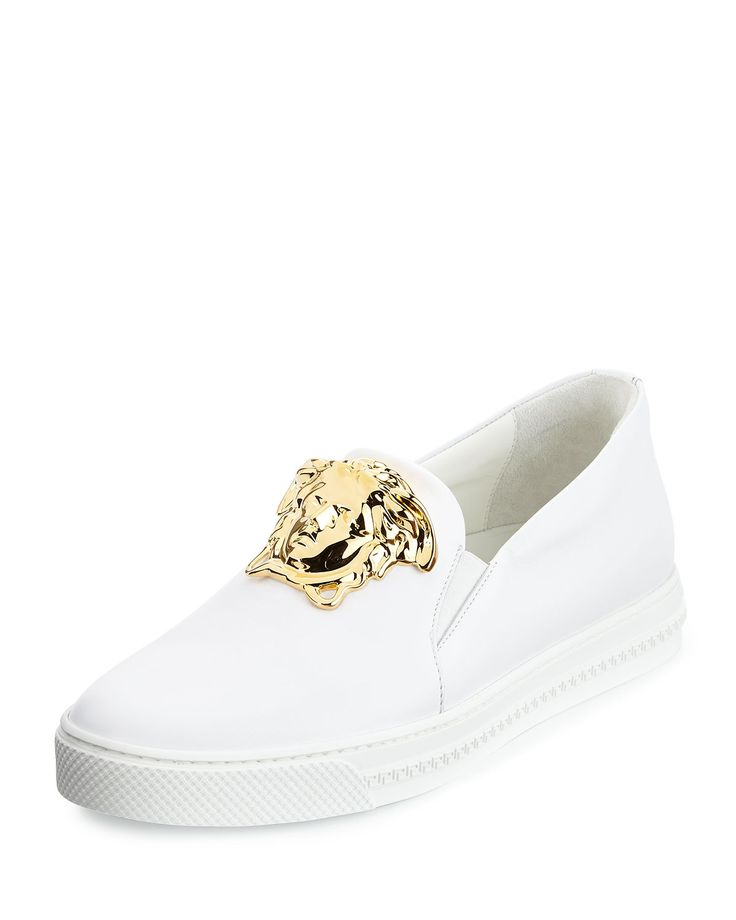 Leather Slip-On Sneaker with Golden Medusa Head, White, Men's, Size: 40EU/7US - Versace