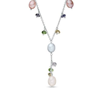 Zales 6.0-8.0mm Cultured Freshwater Pearl and Crystal Strand Necklace, Bracelet and Drop Earrings Set in Sterling Silver