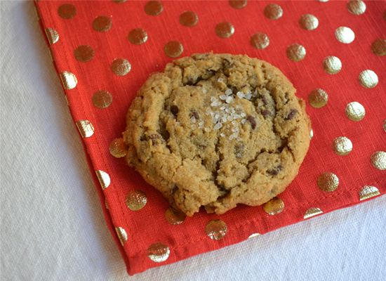 Peanut butter oatmeal cookies with chocolate chips and sea salt