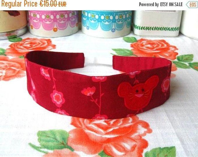 ON SALE Mouse Hairband - Felt Mouse Headband - Reversible Red Hairband - Print Fabric Hairband - Mouse Headband - Fabric Headband - Fabric H