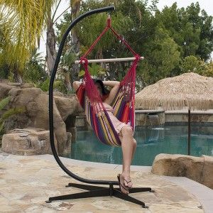 Hammock chair with C frame! SUPER Combo Hammock Chair with C-Frame Stand. Ideal for you to enjoy your hammock chair indoor or outdoor. The frame style offer you a 360 degree of hanging freedom. This unique stand will add style to any patio or back-yard. It is specially designed to conform to the shape of your lower back so it's not only comfortable to sit in, but it eases tensions while relieving stress for your spine!
