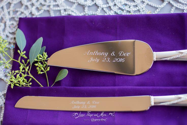 Wedding Cake Cutters Eggplant Napkin Details
