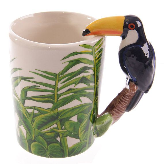 Novelty Ceramic Jungle Mug with Toucan Shaped by getgiftideas