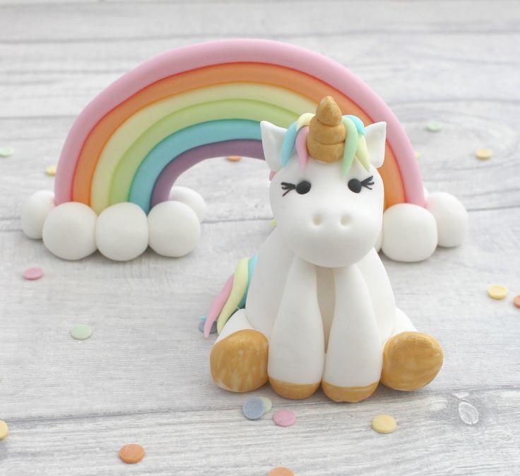 unicorn and rainbow cake toppers, unicorn model, sugarpaste rainbow, birthday cake topper, unicorn cake model, fondant sugar cake decoration by MariesBakehouse on Etsy https://www.etsy.com/listing/499436642/unicorn-and-rainbow-cake-toppers-unicorn