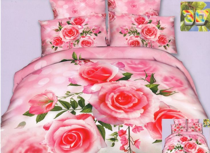 Różowe róże modna pościel jasnoróżowa z mikrowłókna