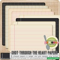 DigiKit - February Pea Soup: Shot Through the Heart Papers By Erica Hernandez      To coordinate with the February Pea Soup line up, I bring you Shot Through the Heart Papers. (8) rounded corner papers in png format featuring grid and ledger designs.