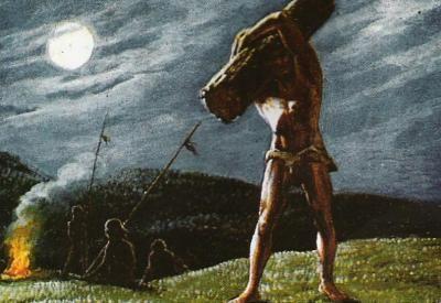 Caupolican - Representación de la prueba que lo volvió Toqui.