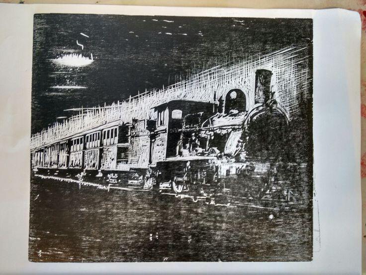 Xilografía arte woodcut locomotive train tren