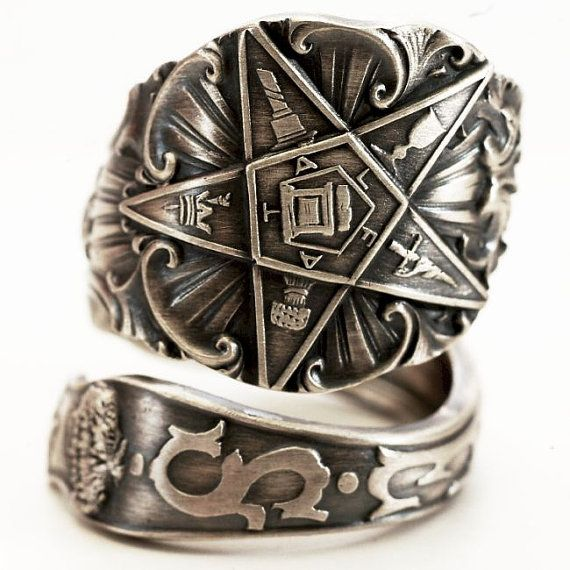 O.E.S. Spoon Ring Order of the Eastern Star Masonic by Spoonier, $63.00