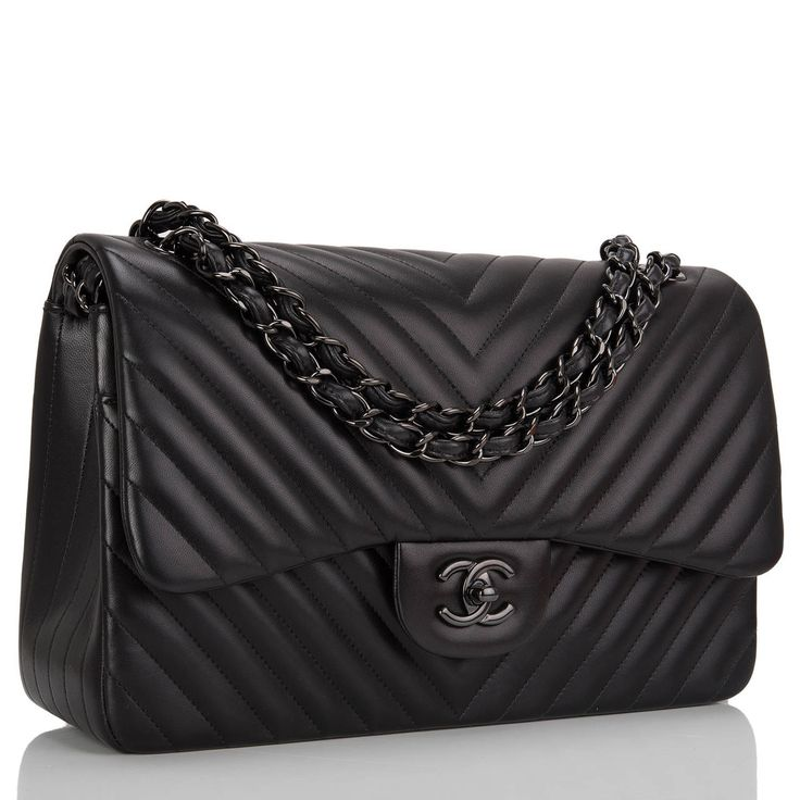 Chanel So Black Chevron Jumbo Double Flap Bag image 2