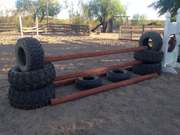 Stacked UTV/ATV tires and landscape poles into a fun little jump. Horse xcountry jump ideas LizardFlats