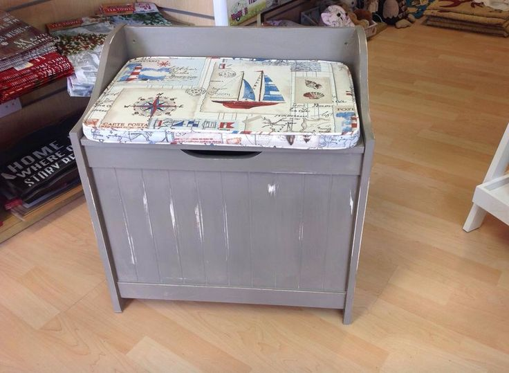Lovely storage box with nautical seat pad painted with Annie Sloan French linen and wax