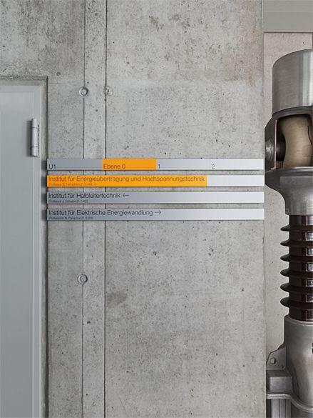 büro uebele // institute of electrical engineering, building 2, stuttgart university signage system, redesign stuttgart-vaihingen, 2012