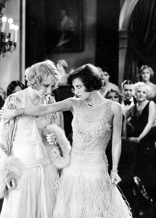 """Joan Crawford and Gwen Lee in Untamed (Jack Conway, 1929), Joan's first talking picture. """"If Untamed does little else for Miss Crawford, it proves that she is an actress for whom the microphones should hold no fear. """"  - The Brooklyn Eagle"""