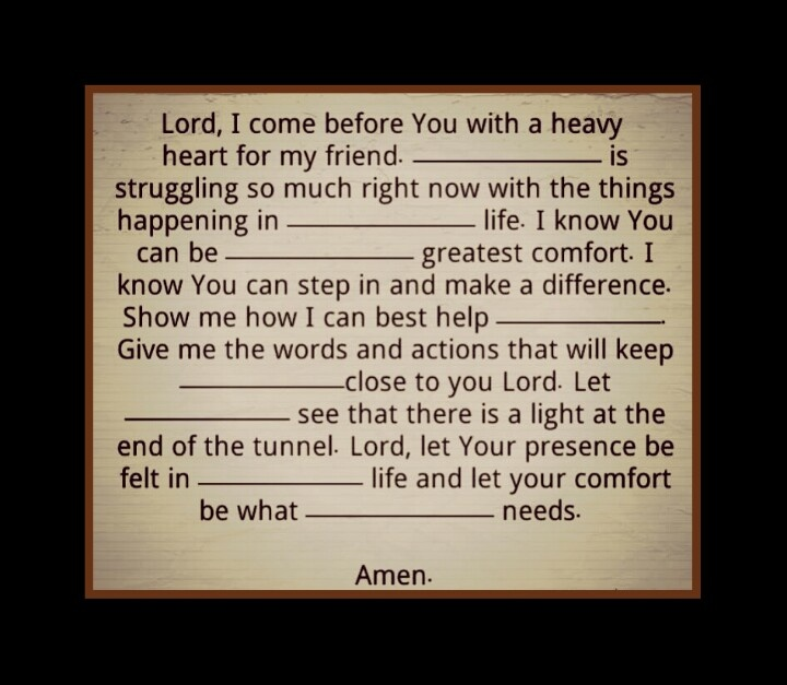 A #Prayer for A #Friend who is struggling with so much. Fill in the blanks with your friend's name.