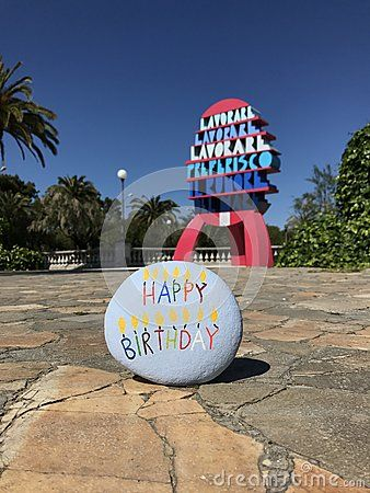 Happy Birthday stone in San Benedetto del Tronto city, Italy