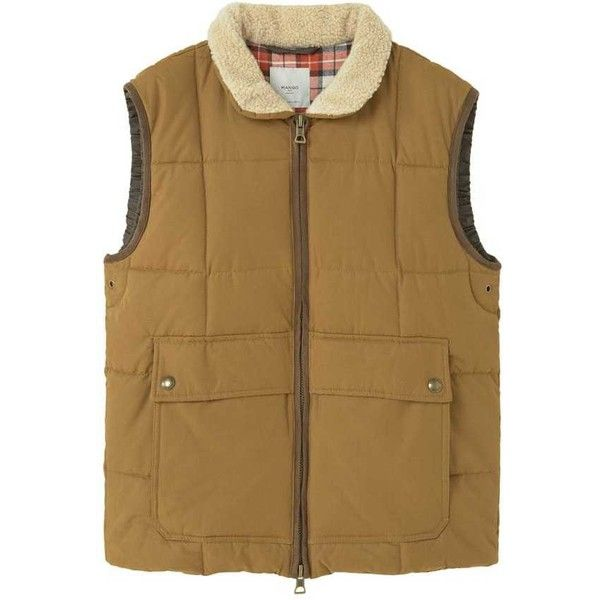 MANGO MAN Shearling Collar Quilted Gilet (67 CAD) ❤ liked on Polyvore featuring men's fashion, men's clothing, men's outerwear, men's vests, mens zipper vest, mens zip vest, mens quilted vest, mens multi pocket vest and mens button sweater vest