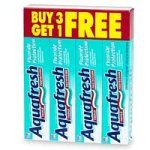 Aquafresh Triple Protection Toothpaste with Fluoride, Buy Three 8.2 oz Tubes Get One Free - 4 tubes by Aquafresh. $9.95. Please read all label information on delivery. Package contains 3 tubes of toothpaste plus 1 more free. Contains no sugar. ADA-accepted. Fights cavities with fluoride, freshens breath, and helps remove plaque. Aquafresh Cavity Protection Toothpaste 8.2 Ounce Tube (Pack of 4)