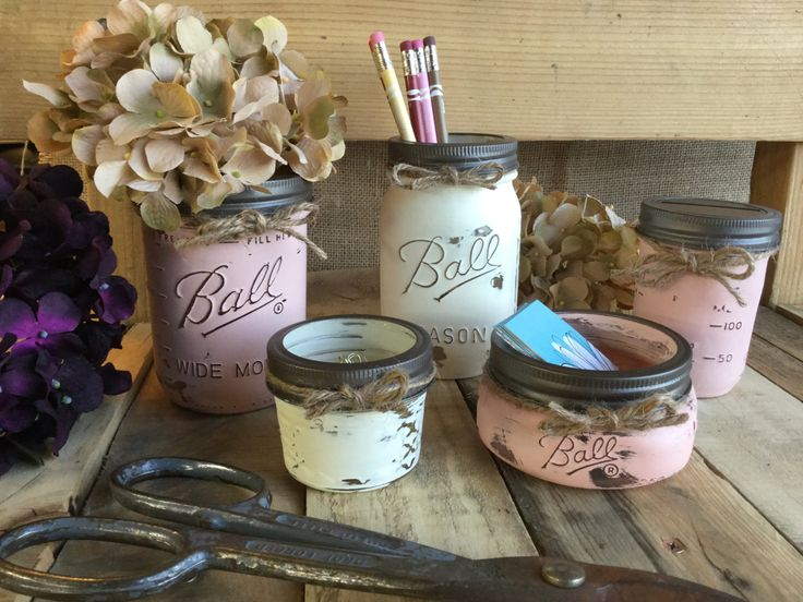 Mason Jar Office Set, Flower Vase, Shabby Chic, Rustic Office Decor, Distressed, Office Gift Idea, Business Card Holder, Pen & Pencil Holder by VintageDaisyHome on Etsy