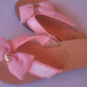 σανδάλια ροζ μακραμέ