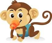 Clipart of Cute baby monkey with a pacifier in a crawling pose. k5166605 - Search Clip Art, Illustration Murals, Drawings and Vector EPS Graphics Images - k5166605.eps
