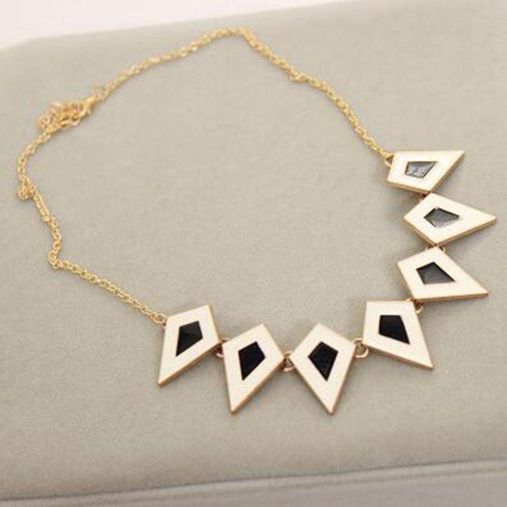 European Bohemia Style Exaggerate Fashion Stereoscopic Oil Bake Rhombus Triangle Statement Choker Necklace For Women Jewelry