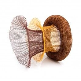 Mesh Bracelet - Handcrafted Danish Design. In brown and 18-karat gold plated, this varnished copper bracelet is woven into a beautiful and unique shape that draws attention to the fluid movement of the wrist and hand. Award winning artist Lisbeth Dauv has created a simple yet intriguing woven copper bracelet that evokes images of time and motion. This bracelet is perfect for both casual and formal occasions. http://www.nuuru.com/en/mesh-256.html