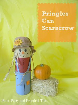 A sweet scarecrow craft that you can make using a Pringles can @PamsPartyandPracticalTips #scarecrowcrafts
