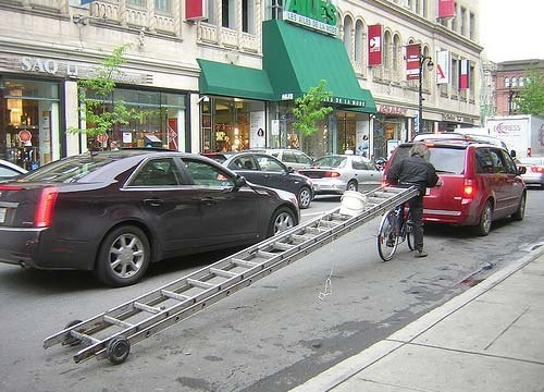 Well, that's one way to tow a ladder!