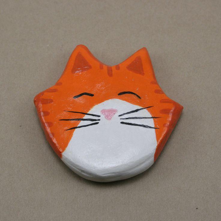 Tabby Cat Magnet, Orange  and White Tabby Cat Head Magnet, Handmade Plaster Magnet, Orange and White Kitten, Cat Lover Gift