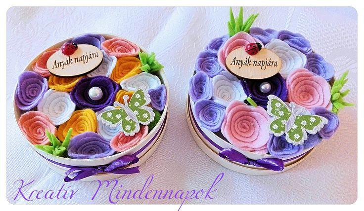 Mini virágdobozok készültek Anyák Napjára