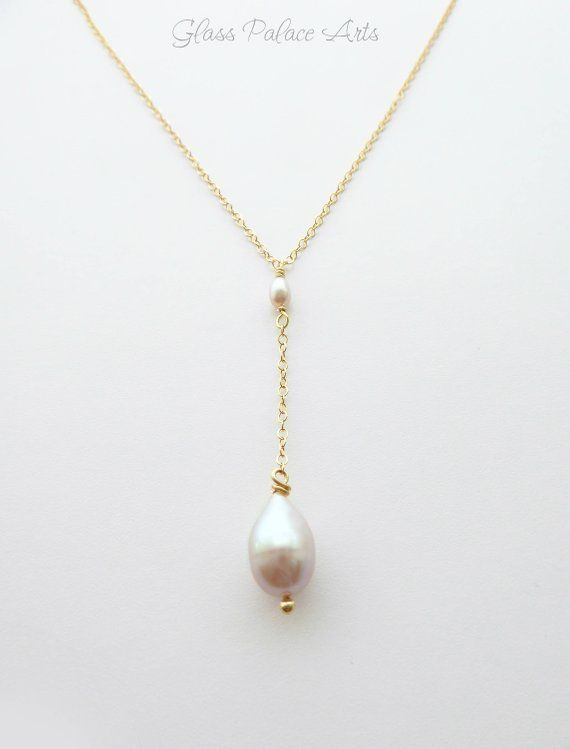 Necklace for Mum  Mothers Day Gift  Jewelry for Mum  Rose Gold Necklace  Simple Pearl Teardrop Necklace  Freshwater Pearl Necklace