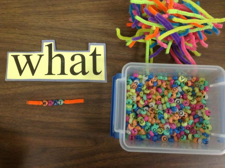 Recreating sight words using letter beads and a pipe ...