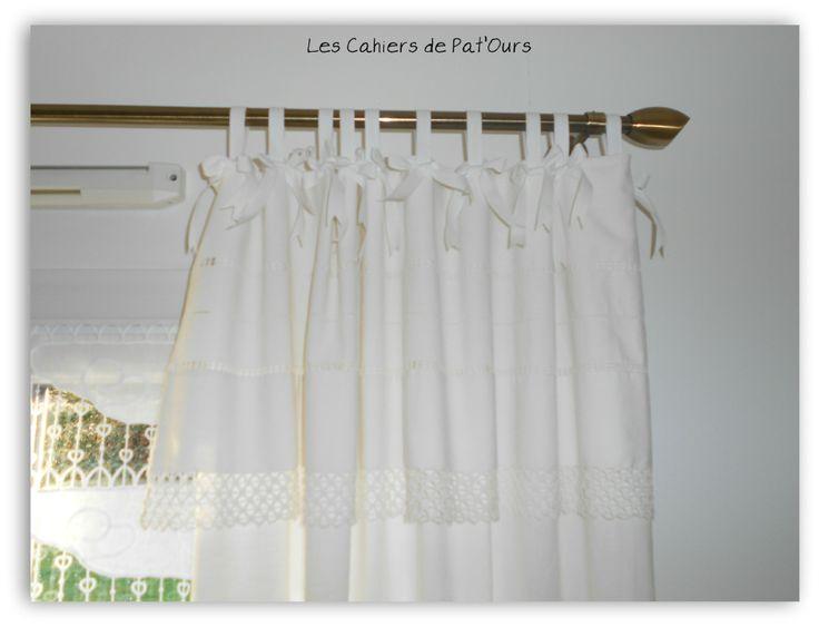 Les Cahiers de Pat'Ours....Rideau confectionné avec un drap ancien