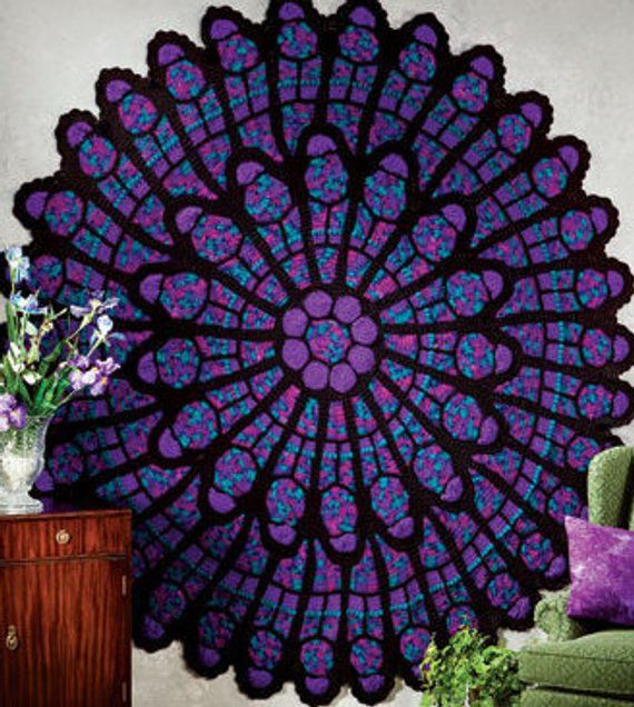 Mto Stunning Cathedral Window Afghan 78 Cathedral Afghan Stained