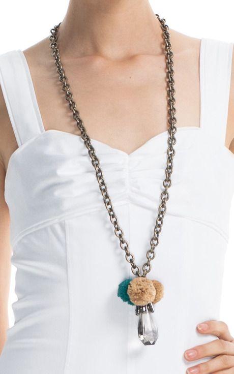 Tory Burch Raffia Crystal Pendant Necklace: Raffia Crystals, Pendant Necklace, Burch Raffia, Burch Accessories, Crystals Pendants, Pendants Necklaces, Tory Burch, Pom Pom, Shells Pendants