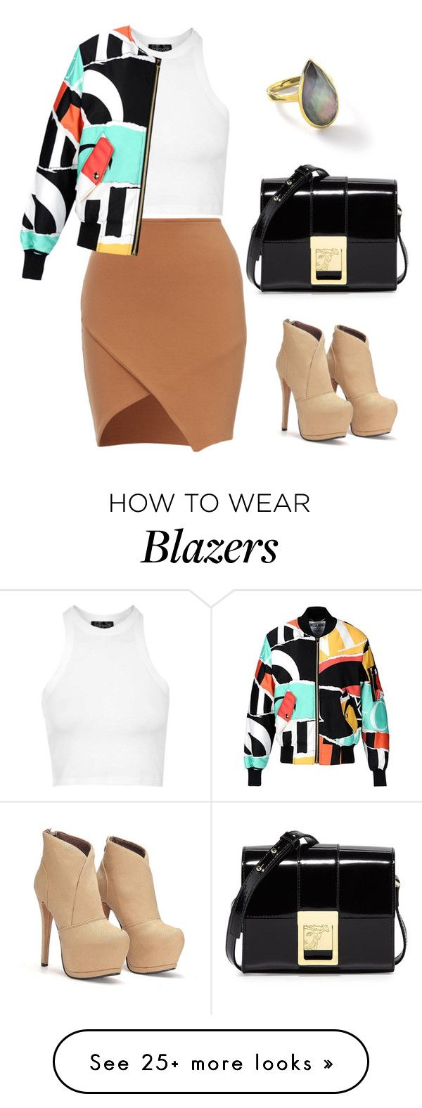 """""""Colorful blazer #233"""" by thereseatarwang on Polyvore featuring Topshop, Moschino, Versace, Ippolita, women's clothing, women, female, woman, misses and juniors"""
