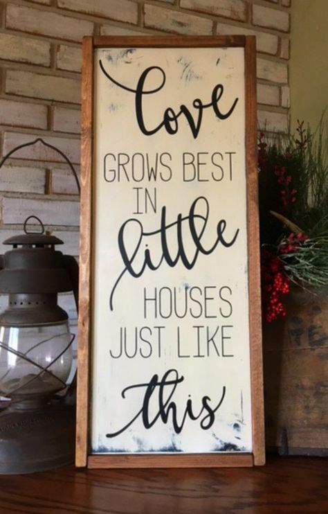 Love Grows Best in Little Houses Just Like This - Wood Sign - Framed Sign - Gallery Wall - Farmhouse Style - Home Decor by TheOldWhiteShedIowa on Etsy