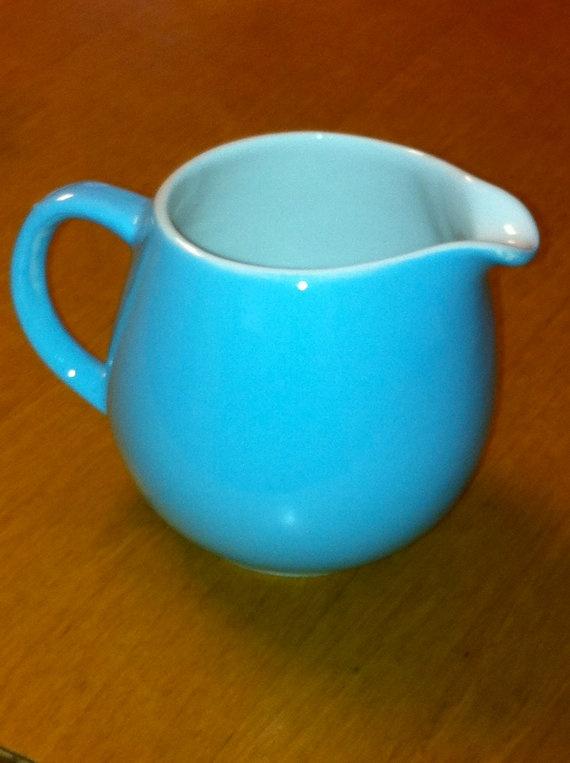Vintage Finnish Arabia Pitcher/Creamer Powder Blue by BisonGifts.