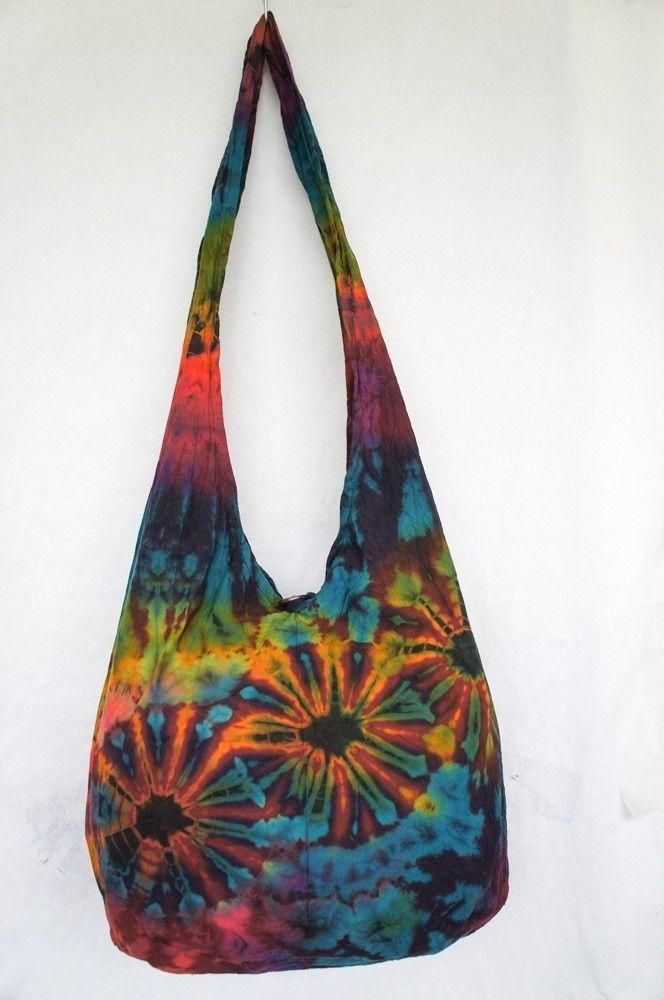 TIE DYE HOBO BAG 1138 sling purse shoulder hippie tiedye ...
