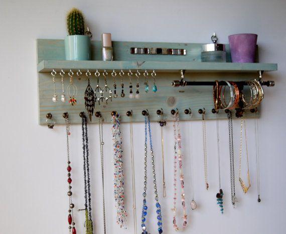 Jewelry organizer with shelf. Earrings display wall mounted