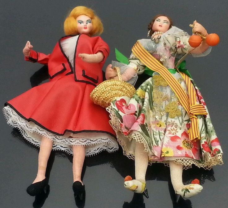 """Vintage 1950's? Layna Cloth Dolls """"traditional"""" made in Spain. Displayed 1 tags! #Layna"""