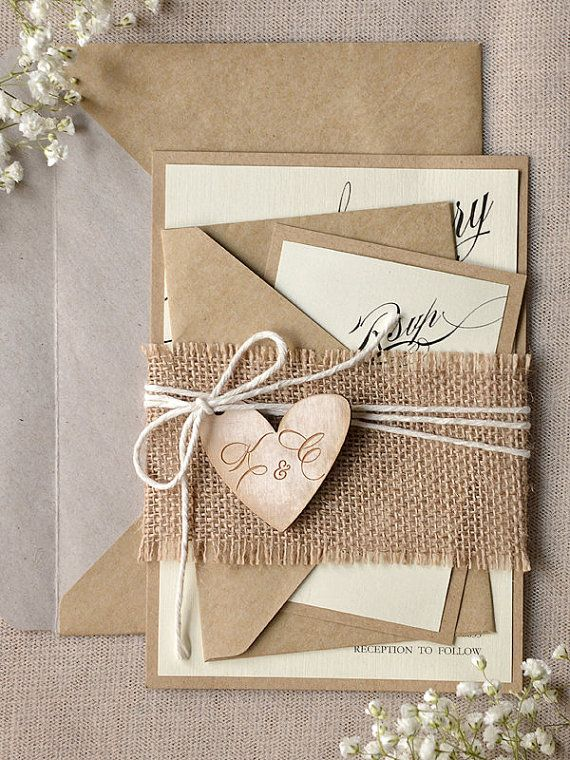 Custom listing 100 Rustic Wedding Invitation by forlovepolkadots