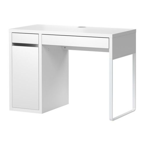MICKE Desk IKEA Cable outlets and compartment at the back; keep sockets and cables out of sight but close at hand.
